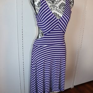 Purple and White Striped Cut Out High-Low Dress
